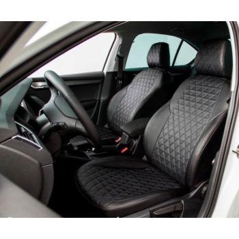 Авточехлы для салона из экокожи для Chevrolet Aveo '06-11 T250, черные (Seintex)