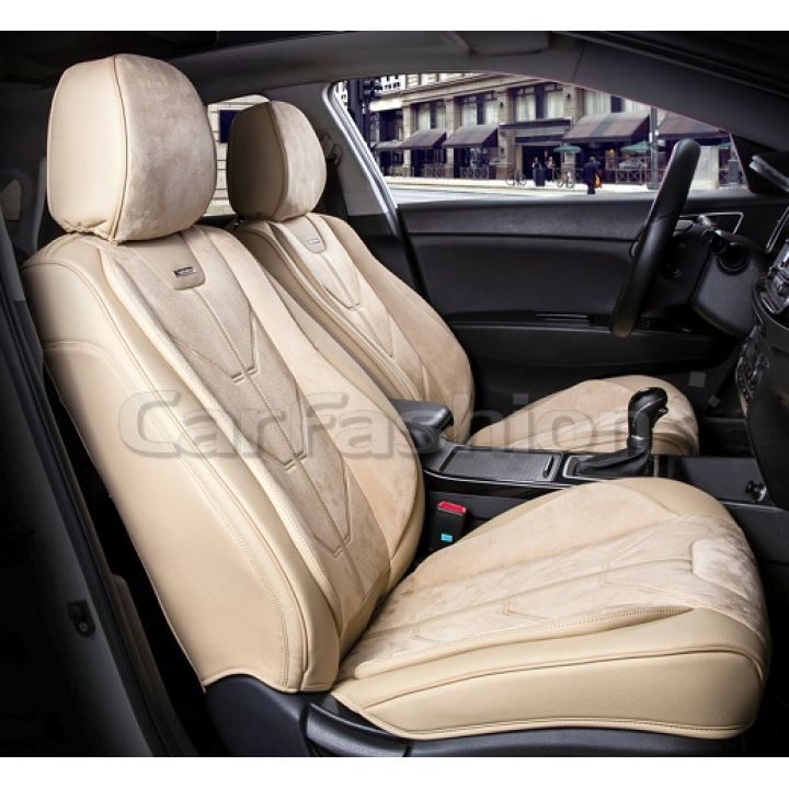 Универсальные чехлы на передние сиденья Start front, бежевый / бежевый / бежевый (CarFashion)