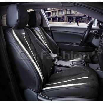 Универсальные чехлы на передние сиденья Start front, черный / черный / бежевый (CarFashion)