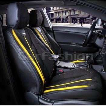 Универсальные чехлы на передние сиденья Start front, черный / черный / желтый (CarFashion)