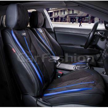 Универсальные чехлы на передние сиденья Start front, черный / черный / синий (CarFashion)