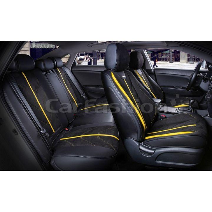 Универсальные чехлы на сиденья Start plus, черный / черный / желтый (CarFashion)
